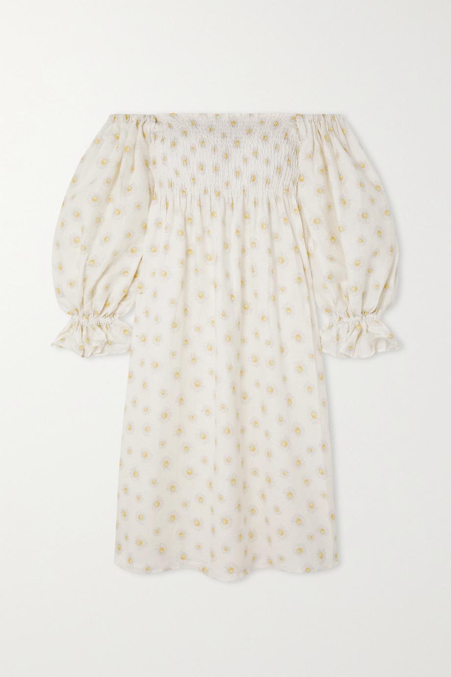 Sleeper Robe midi épaules nues en lin à imprimé fleuri et à smocks Atlanta