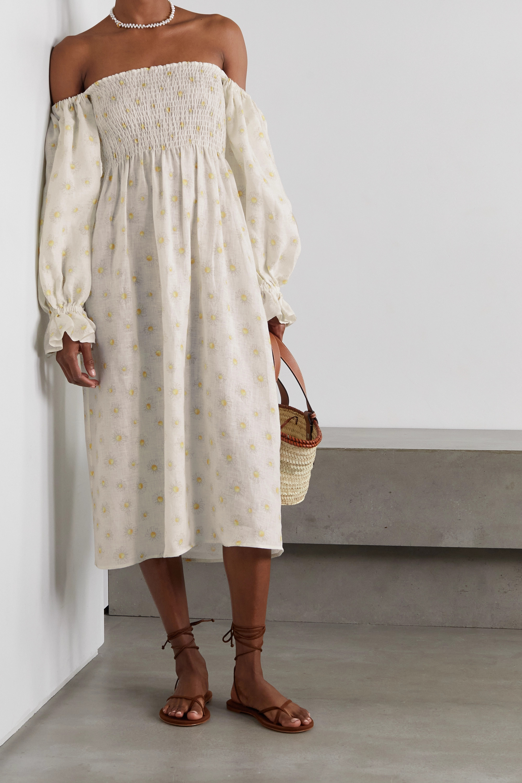 Sleeper Atlanta off-the-shoulder shirred floral-print linen midi dress
