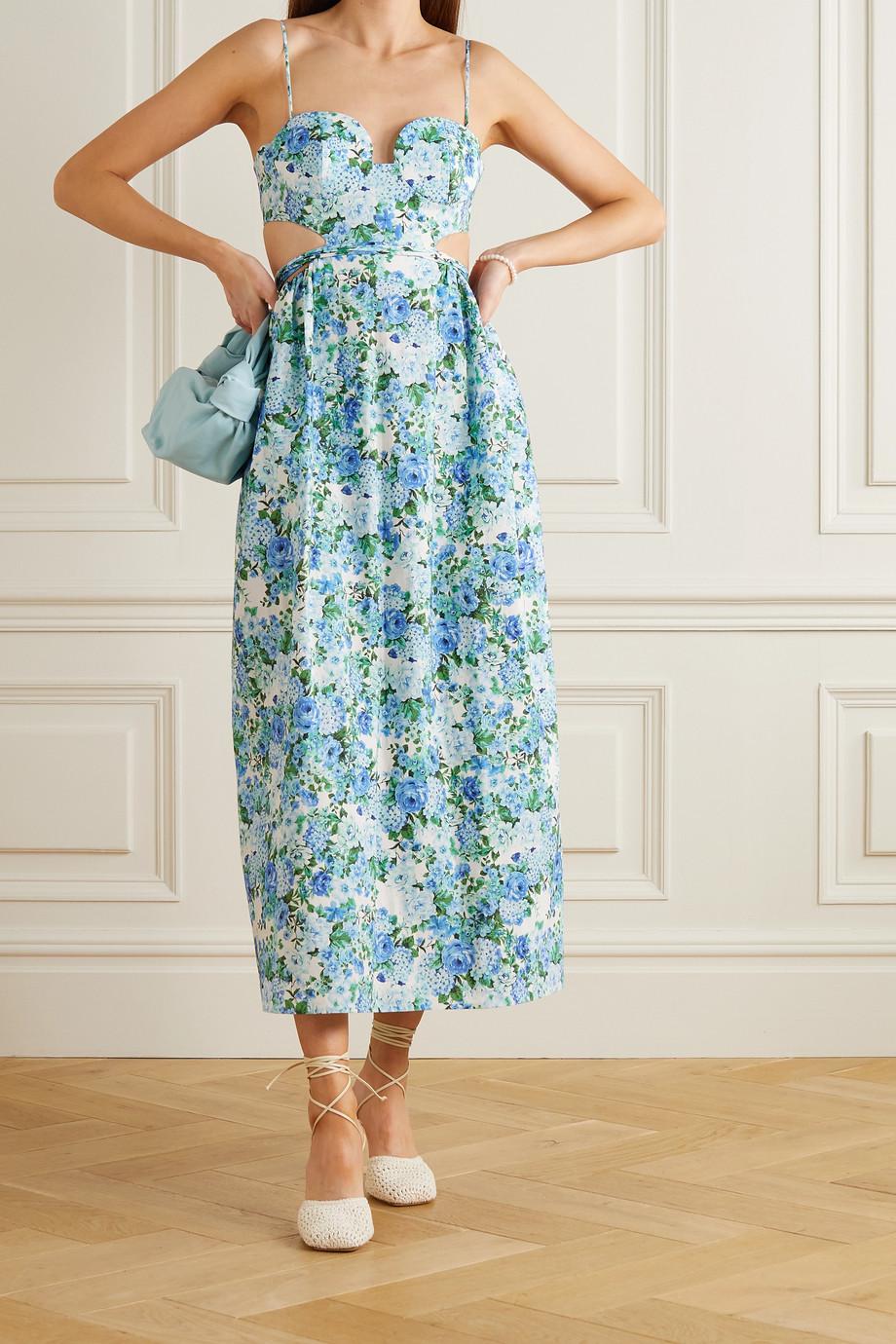 Magda Butrym Robe midi en coton, lin et soie mélangés à imprimé fleuri et à découpes