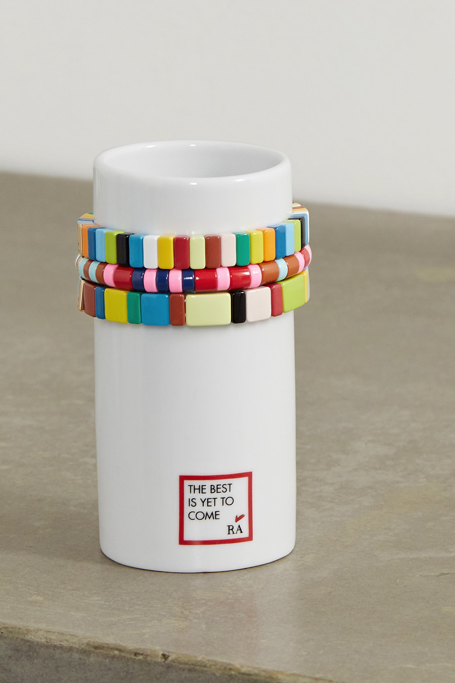 Roxanne Assoulin Stack 'Em Up porcelain vase and set of three enamel and gold-tone bracelets