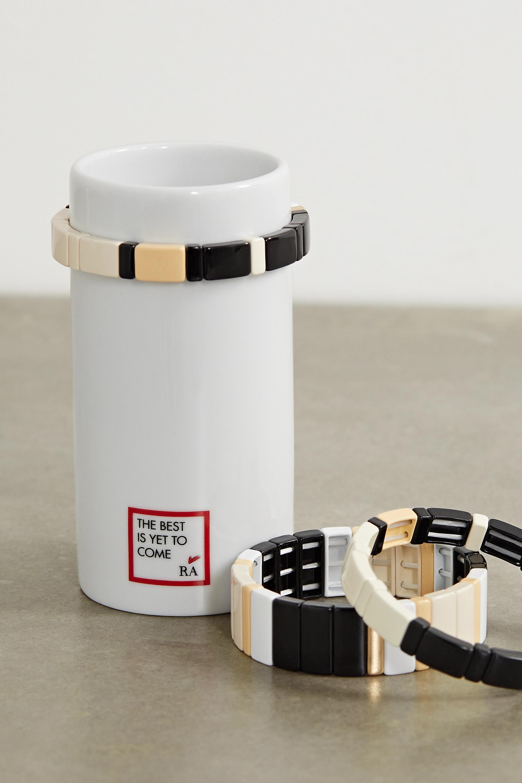 Roxanne Assoulin Stack 'Em Up porcelain vase and set of three enamel and gold-tone bracelets