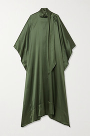 Taller Marmo Tie-detailed silk-blend satin kaftan