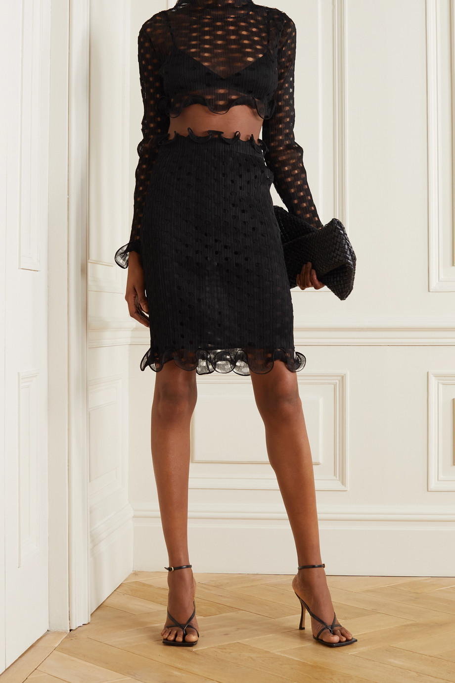 Burberry Ruffled cutout stretch-tulle skirt