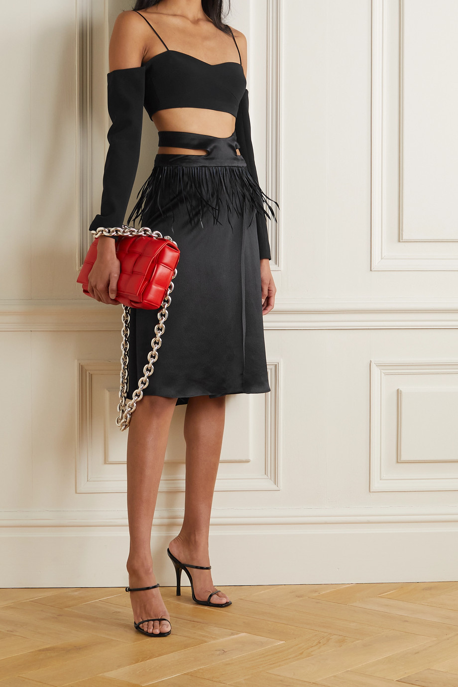 Maximilian Tasseled cutout hammered silk-satin skirt