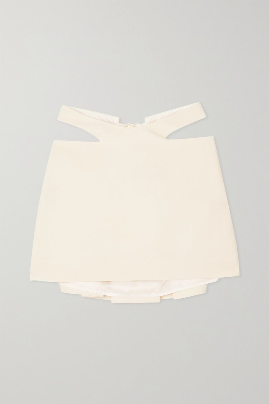 Maximilian Cutout pleated wool mini skirt
