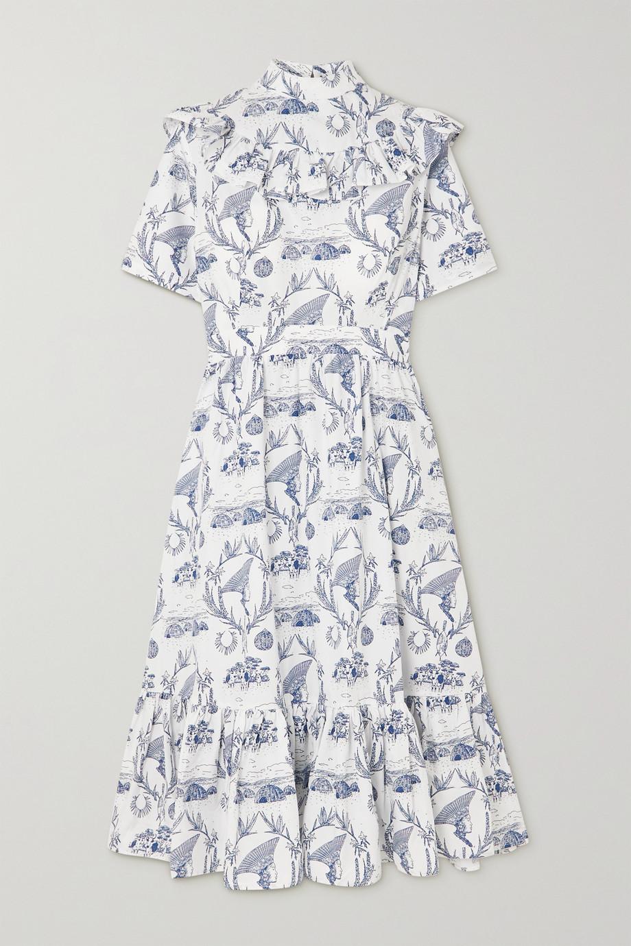 Sindiso Khumalo + NET SUSTAIN ruffled printed cotton midi dress