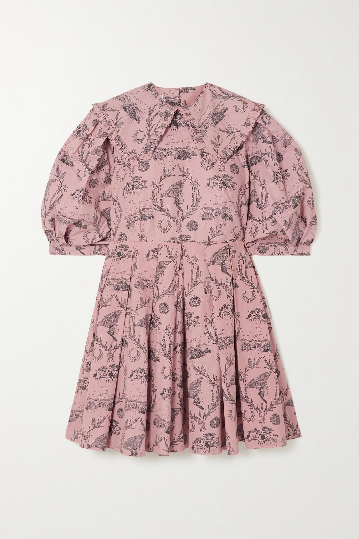 Sindiso Khumalo + NET SUSTAIN pleated printed cotton mini dress