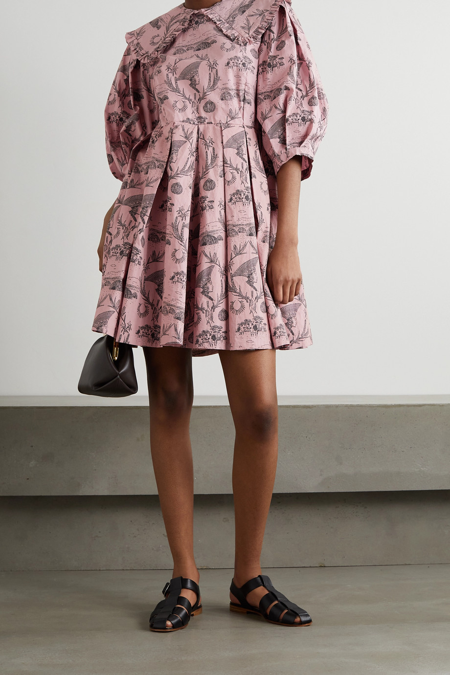 Sindiso Khumalo + NET SUSTAIN pleated printed cotton mini dress