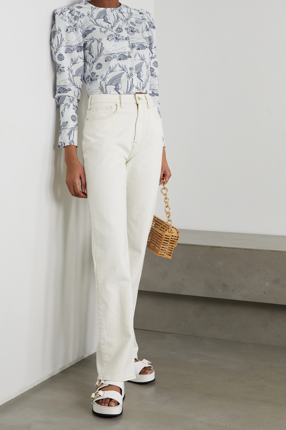 Sindiso Khumalo + NET SUSTAIN cropped printed cotton blouse