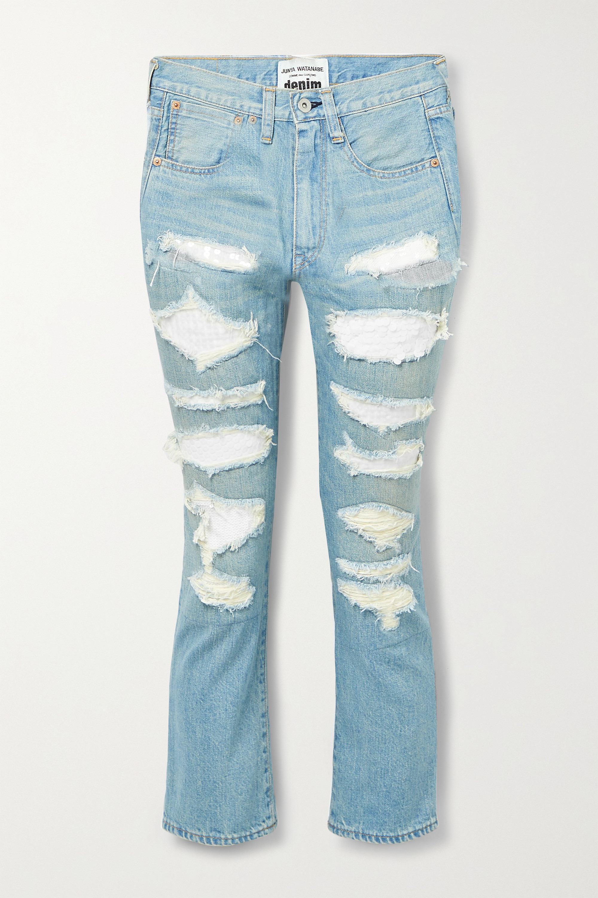 Junya Watanabe - Sequined distressed high-rise straight-leg jeans