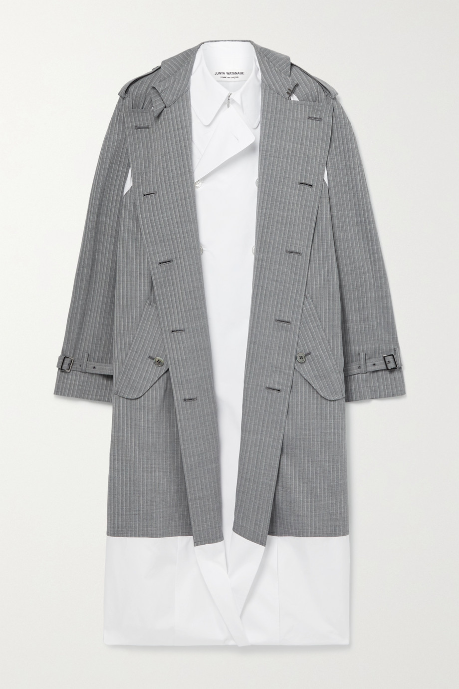 Junya Watanabe Layered checked wool-blend and cotton-poplin trench coat