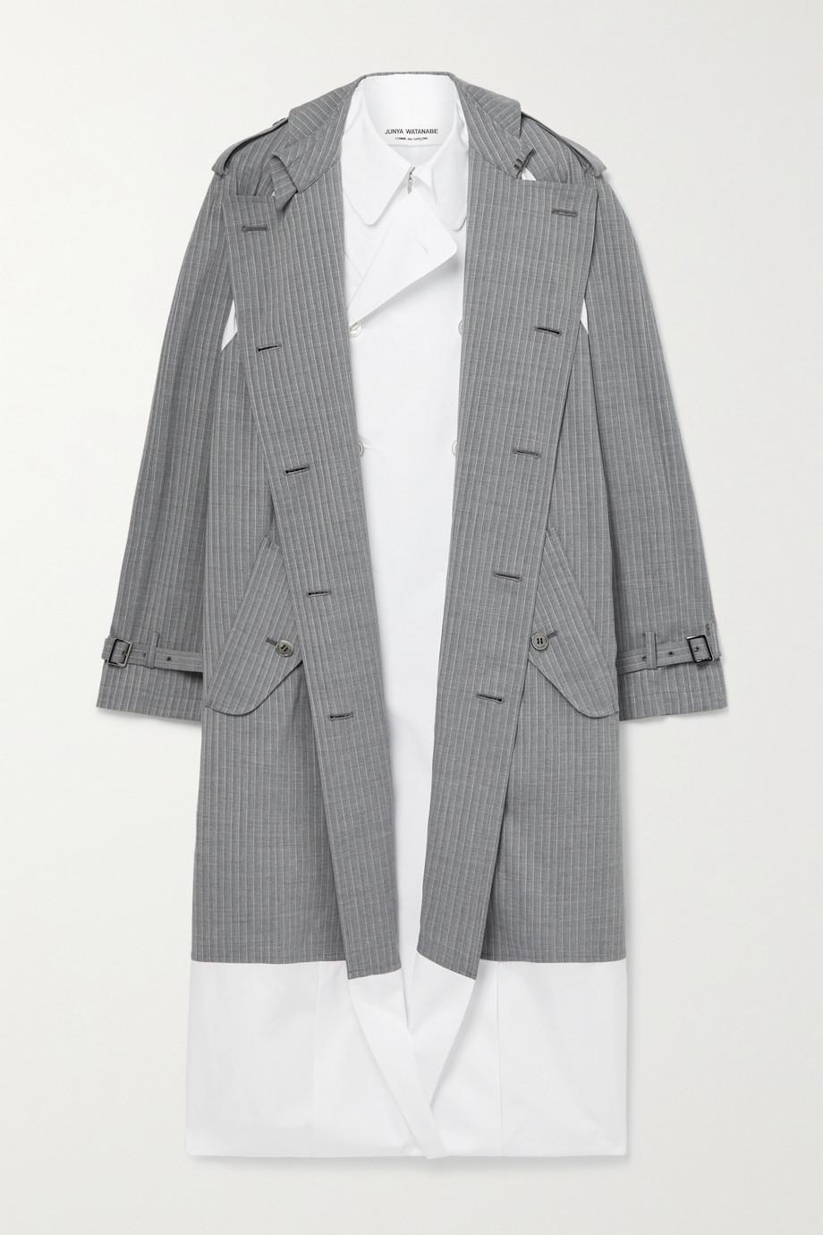 Junya Watanabe Trench-coat en popeline de coton à superposition en laine mélangée à carreaux