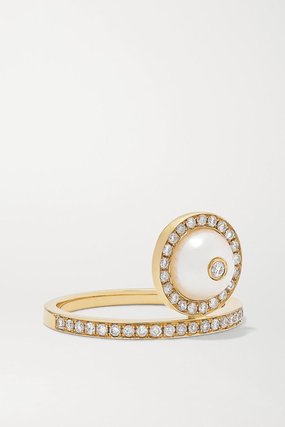 Anissa Kermiche Bague en or 18 carats (750/1000), diamants et perle Solitaire