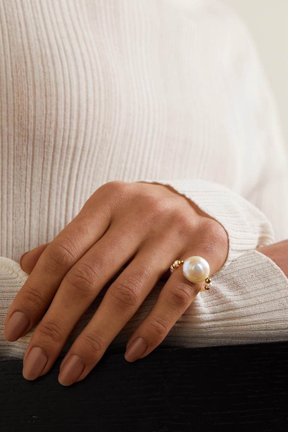 Anissa Kermiche Caviar Pebble gold-plated pearl ring