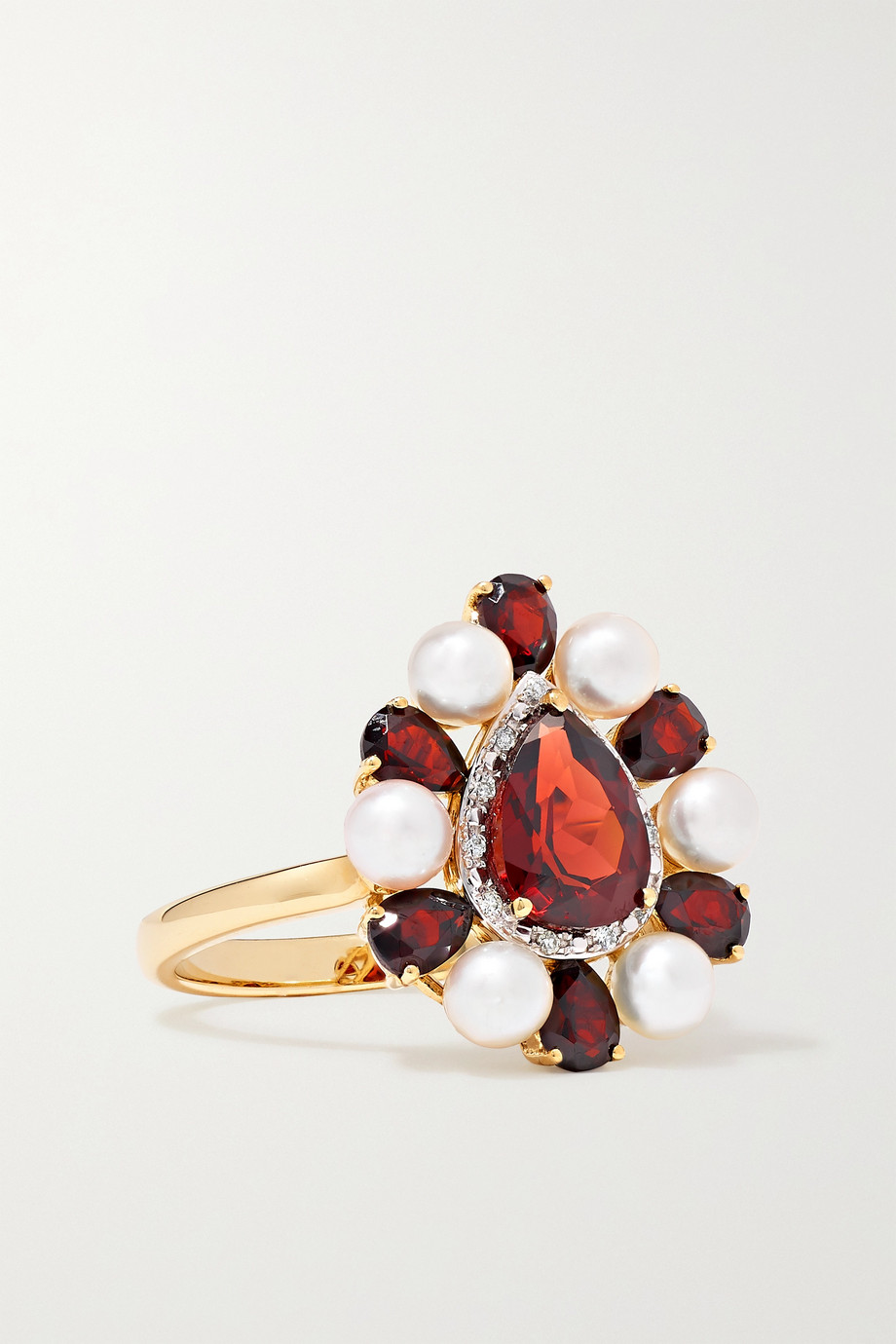 Anissa Kermiche Woman in Red 14-karat gold multi-stone ring