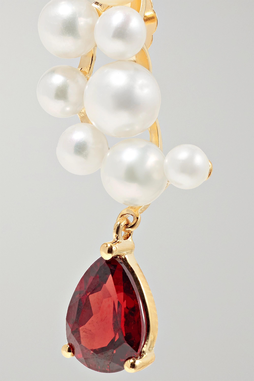 Anissa Kermiche 14-karat gold, garnet and pearl earrings