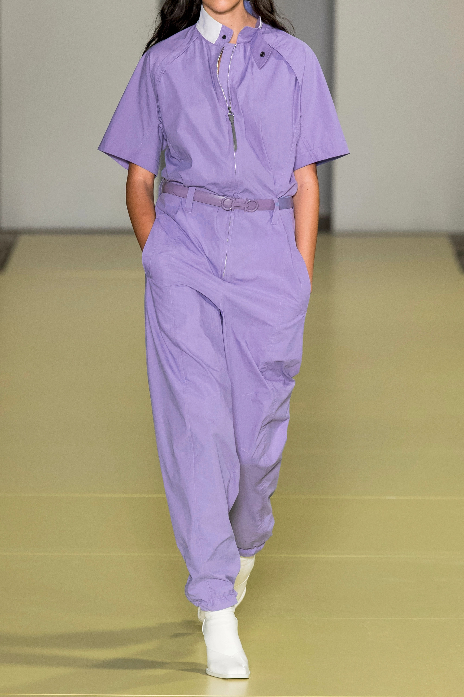 Salvatore Ferragamo Combi-pantalon en serge de coton à ceinture
