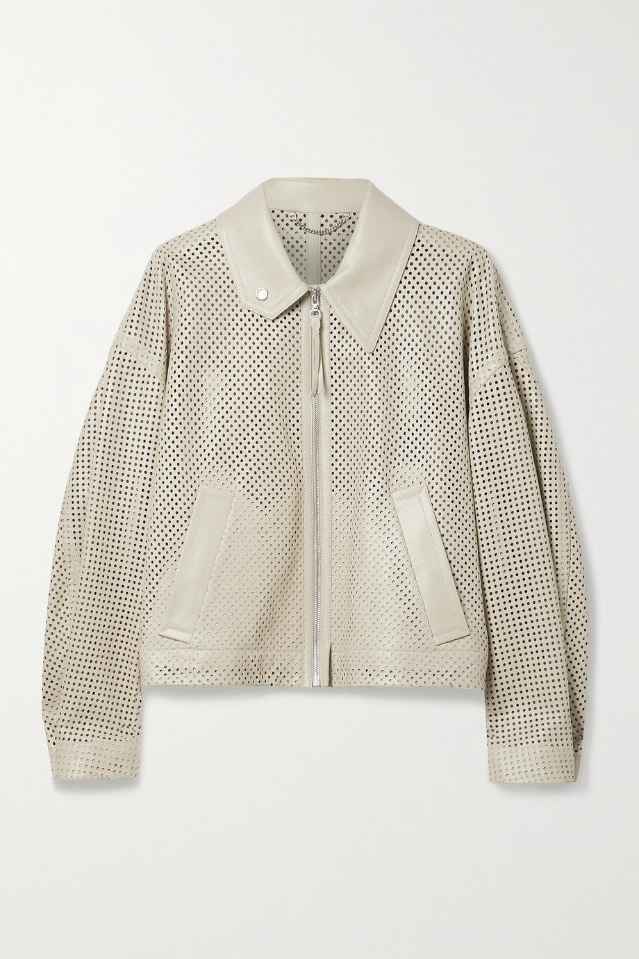 Salvatore Ferragamo Perforated leather bomber jacket