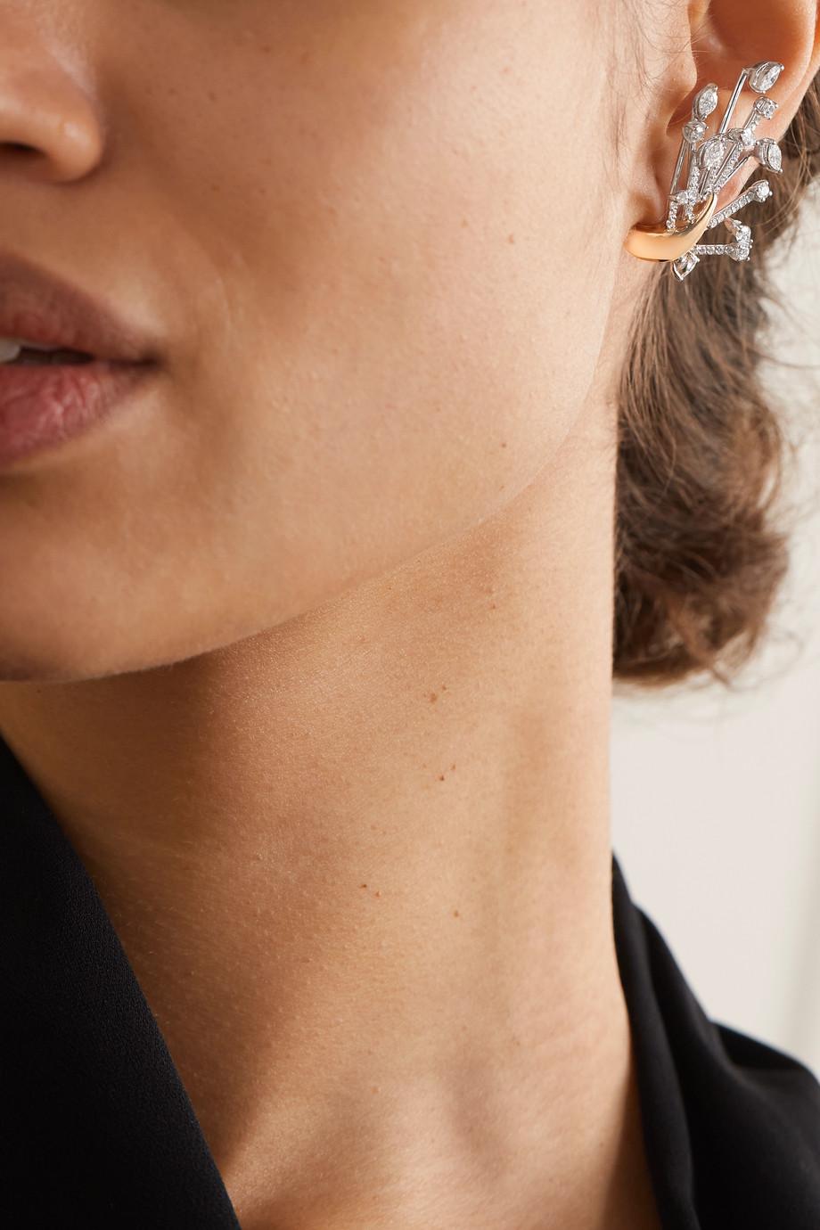 YEPREM 18-karat yellow and white gold diamond earrings