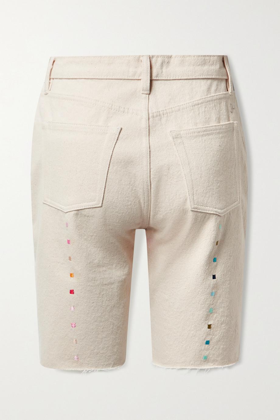 Still Here Technicolor Jeansshorts aus recyceltem Denim mit Fransen und Stickerei