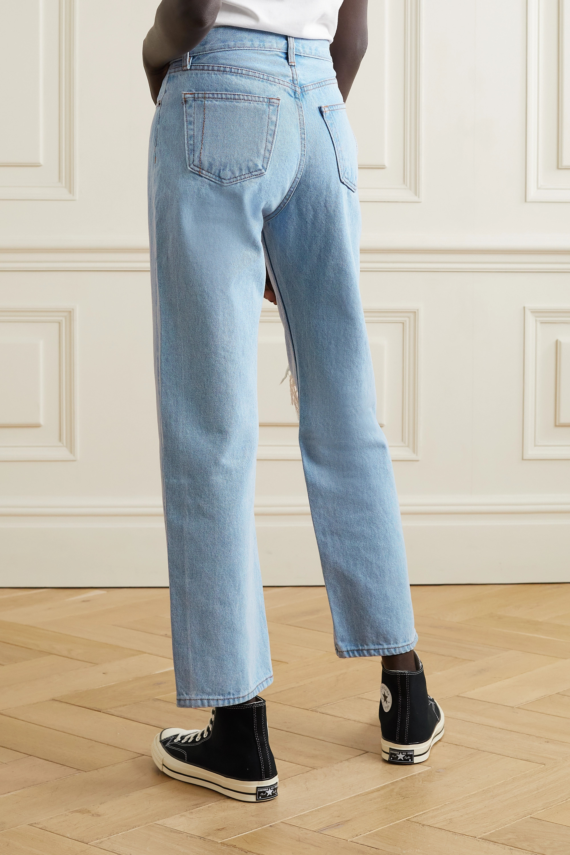 Still Here Childhood distressed high-rise straight-leg jeans