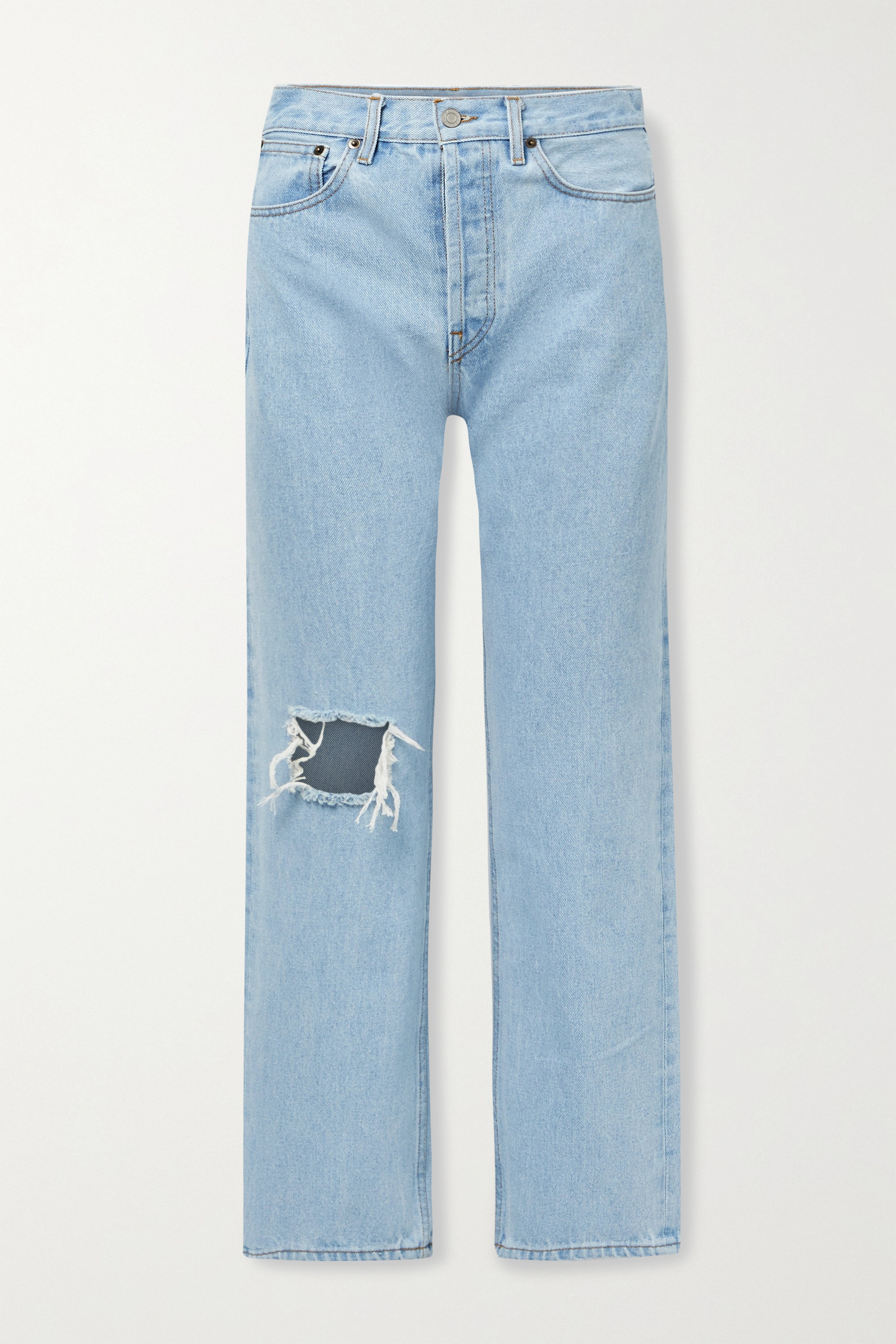 Still Here - Childhood distressed high-rise straight-leg jeans