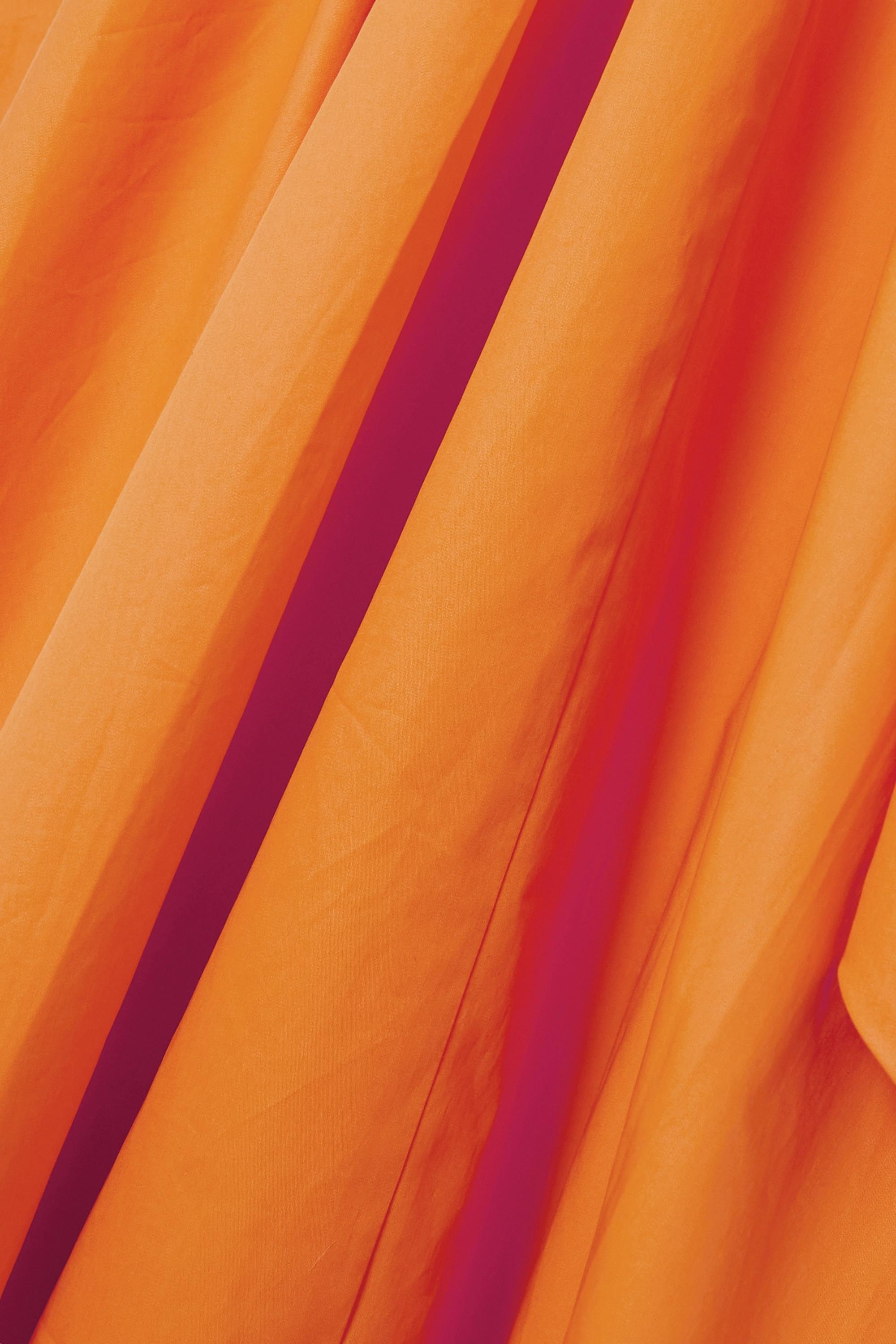 Tibi Robe midi asymétrique en popeline de coton biologique à ceinture