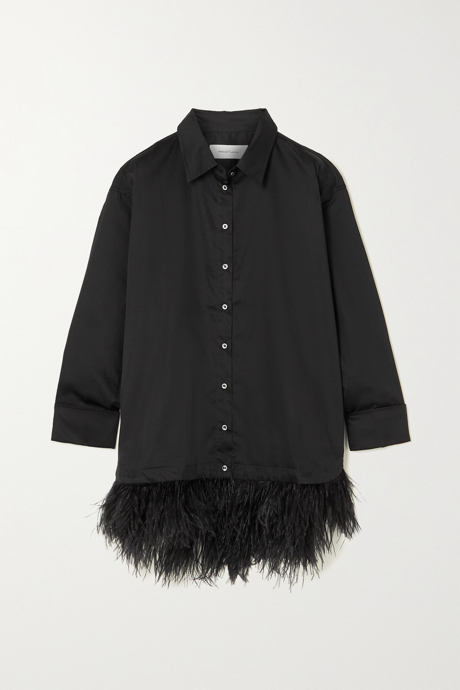 Marques' Almeida Oversized feather-trimmed cotton shirt