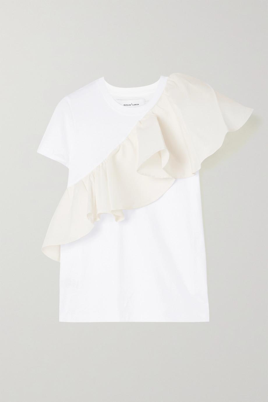 Marques' Almeida Ruffled taffeta-trimmed organic cotton-jersey T-shirt