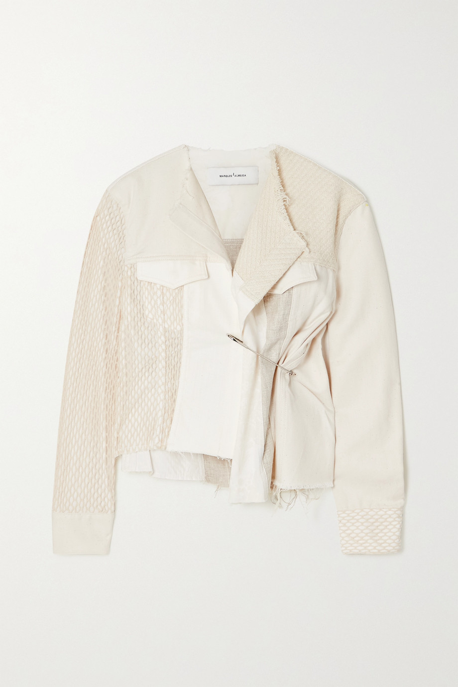 Marques' Almeida Asymmetric cropped patchwork cotton jacket
