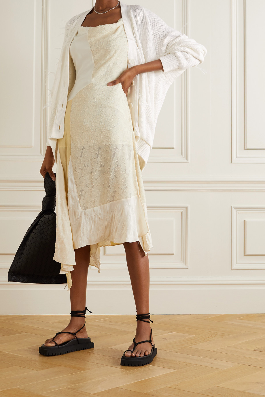 Marques' Almeida Oversized feather-embellished cotton-blend cardigan