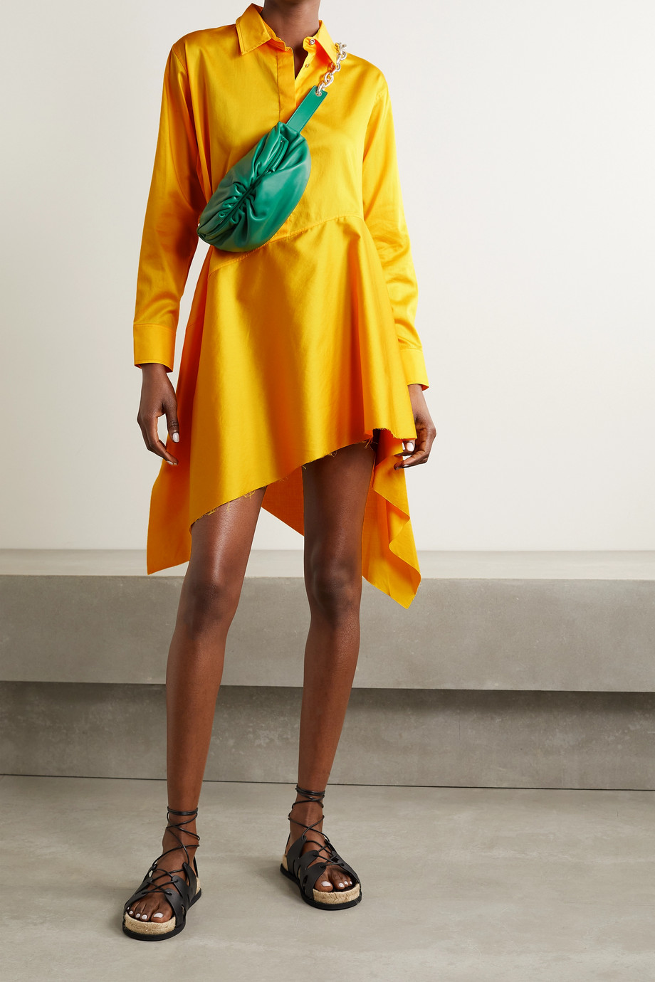 Marques' Almeida Asymmetric cotton-sateen shirt dress