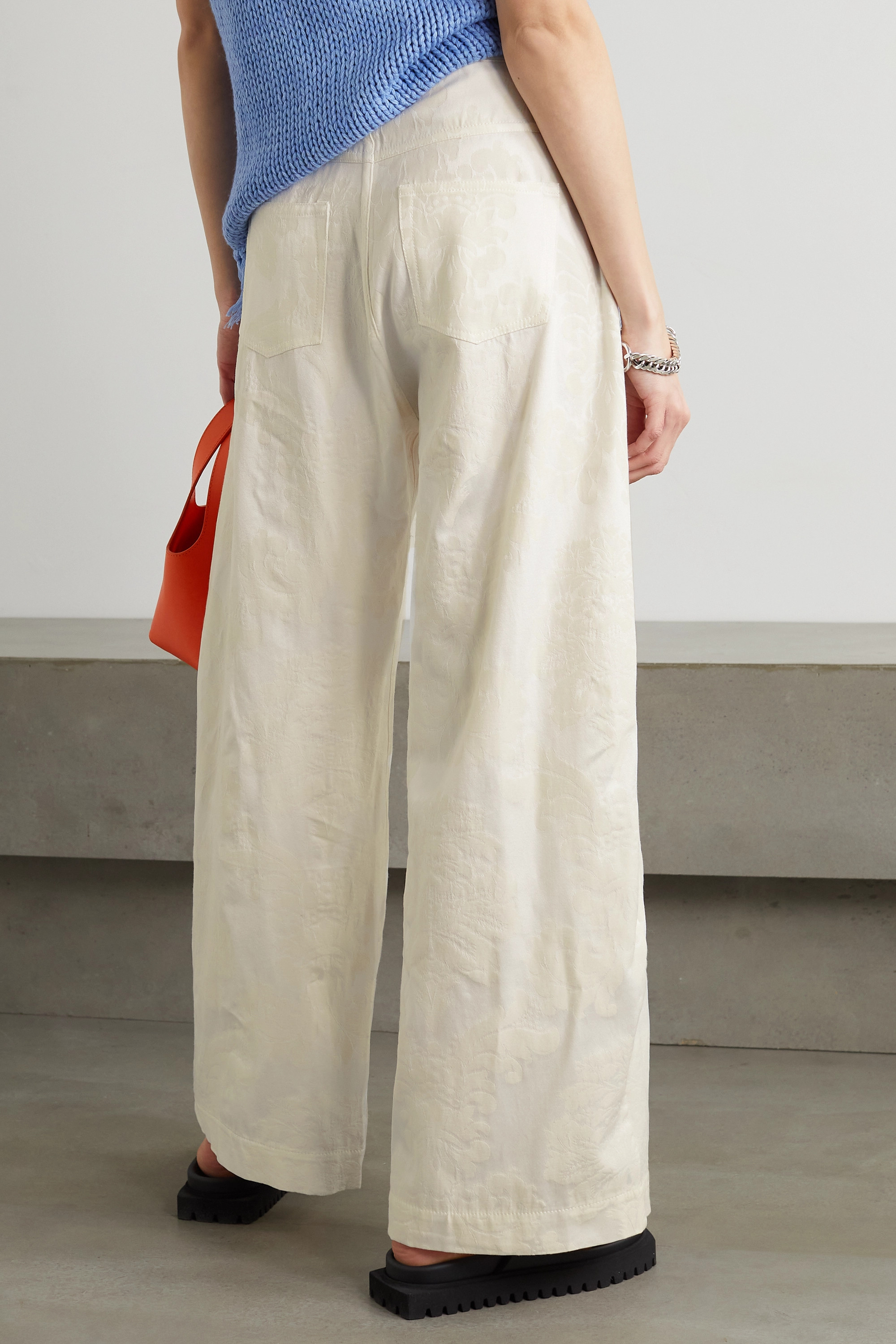 Marques' Almeida Recycled polyester and organic cotton-blend brocade boyfriend pants