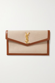 SAINT LAURENT Uptown leather-trimmed cotton-canvas pouch