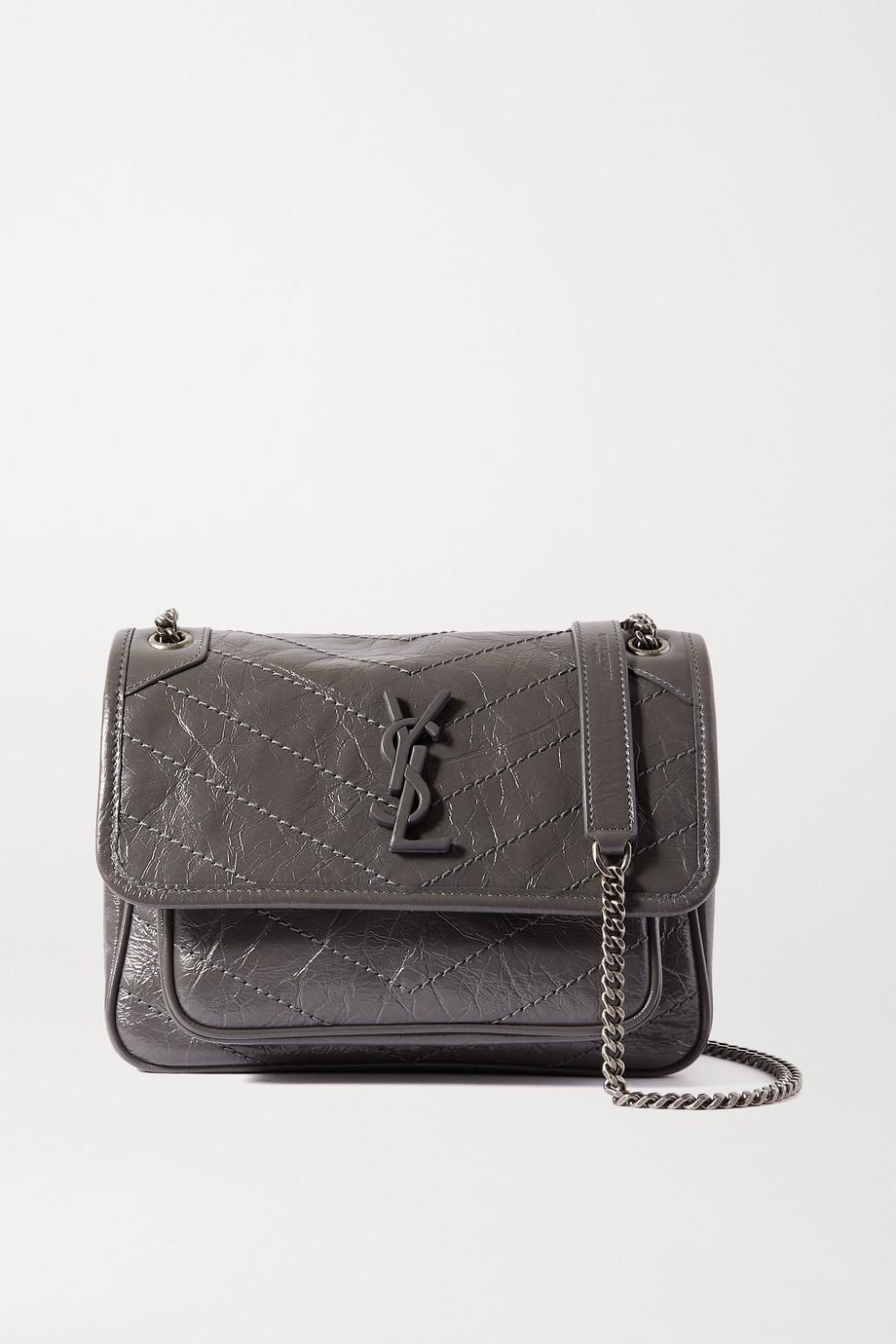 SAINT LAURENT Niki Baby mini quilted crinkled glossed-leather shoulder bag