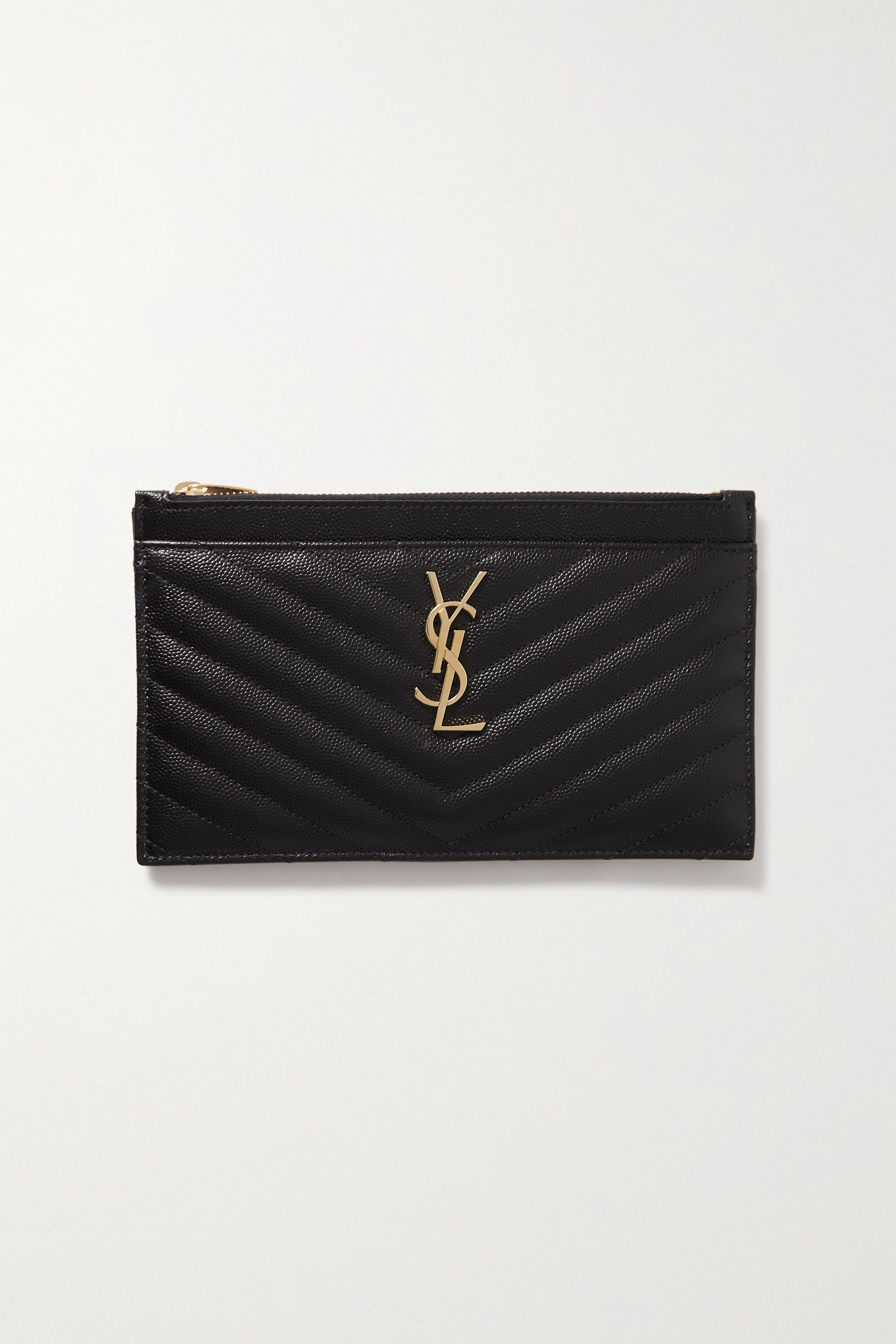 SAINT LAURENT Monogram quilted textured-leather pouch