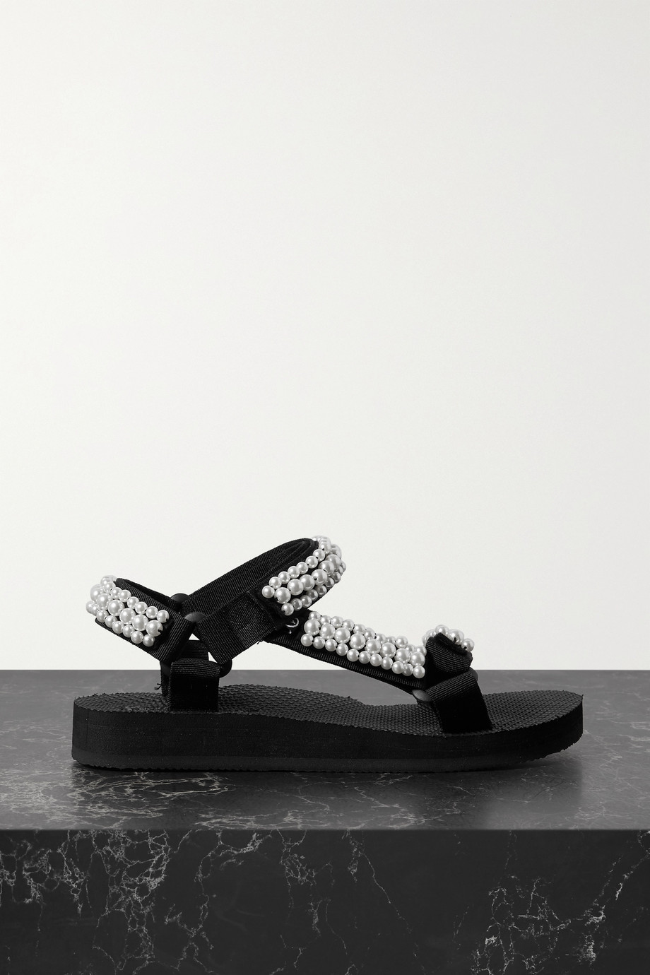 Arizona Love Trekky faux pearl-embellished canvas sandals
