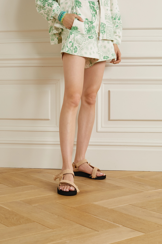 Arizona Love Trekky raffia-trimmed canvas platform sandals