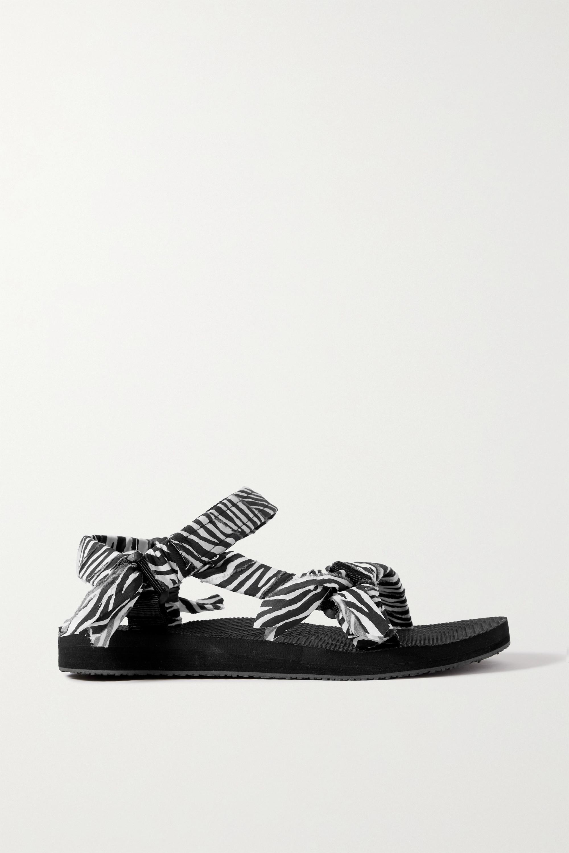 Arizona Love Trekky zebra-print gauze-trimmed canvas platform sandals