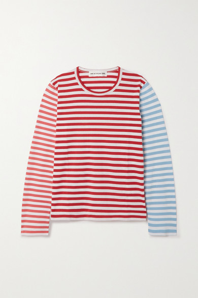 Comme Des Garcons Girl STRIPED COTTON-JERSEY TOP