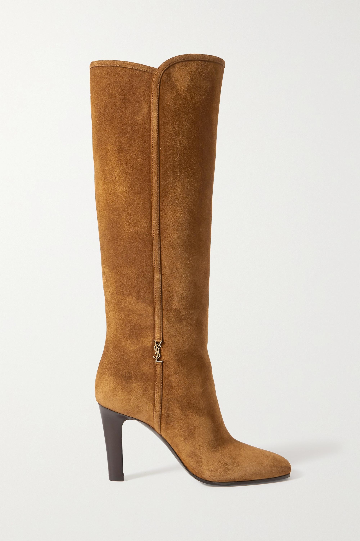 SAINT LAURENT - Jane logo-embellished suede knee boots