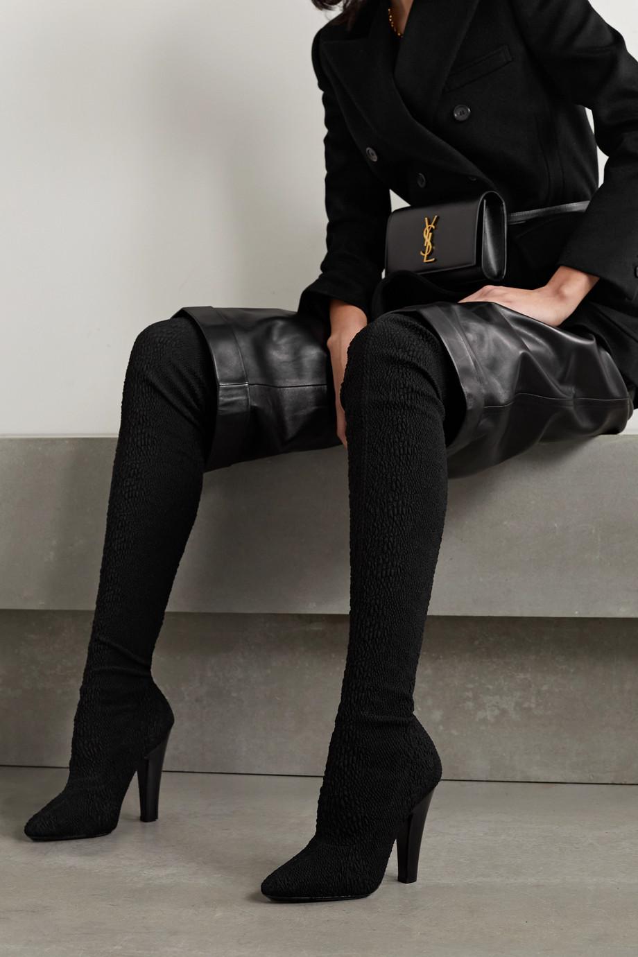 SAINT LAURENT Koller stretch-cloqué over-the-knee boots