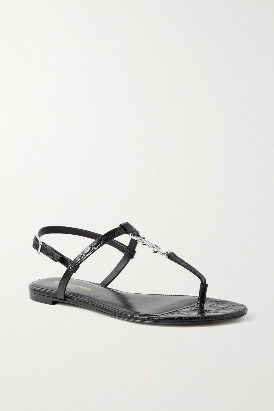 SAINT LAURENT Cassandra logo-embellished croc-effect leather sandals