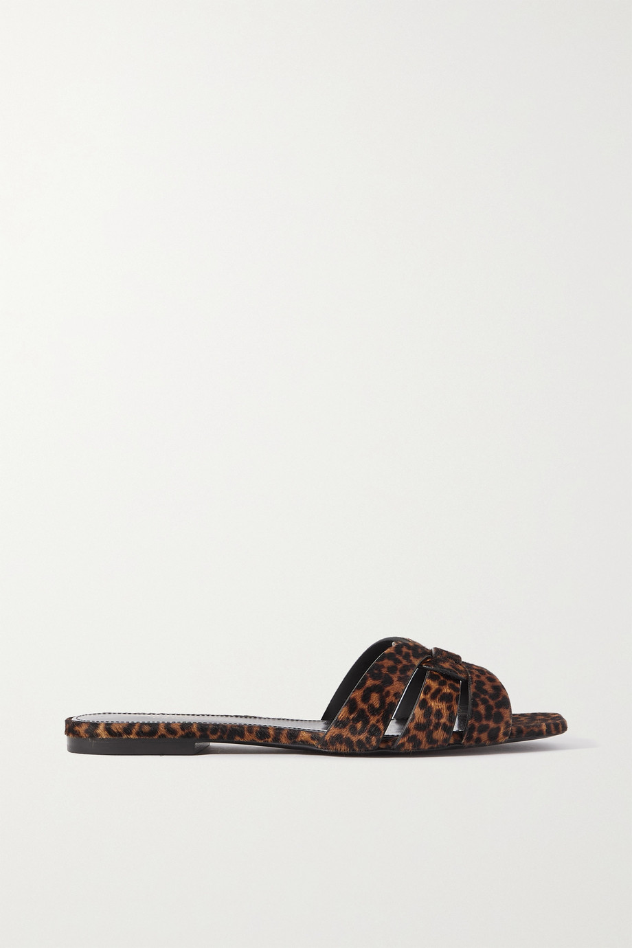 SAINT LAURENT Claquettes en façon poulain tressé à imprimé léopard Nu Pieds