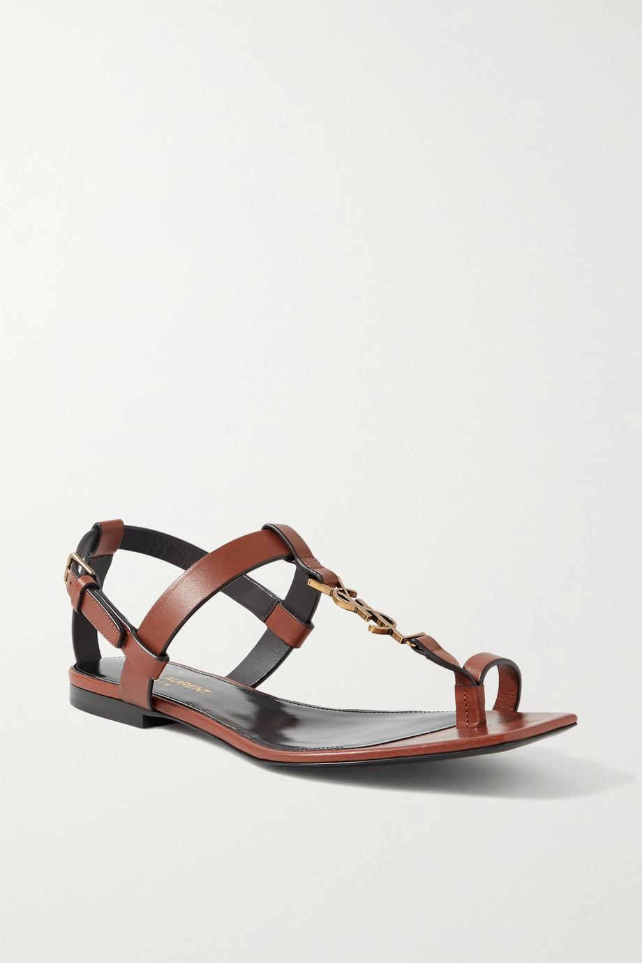 SAINT LAURENT Cassandra logo-embellished leather sandals