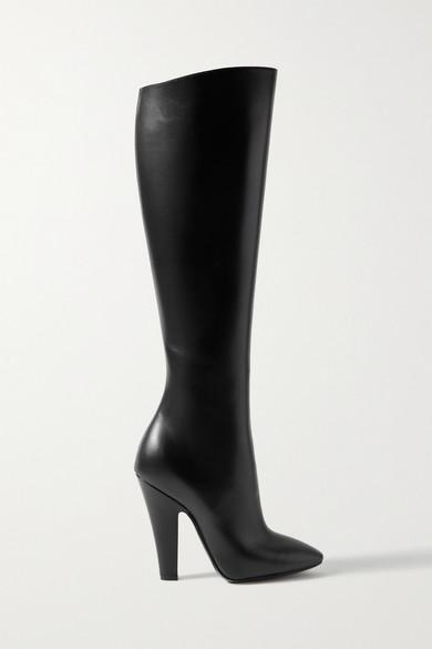 Saint Laurent Koller Leather Knee Boots In Black
