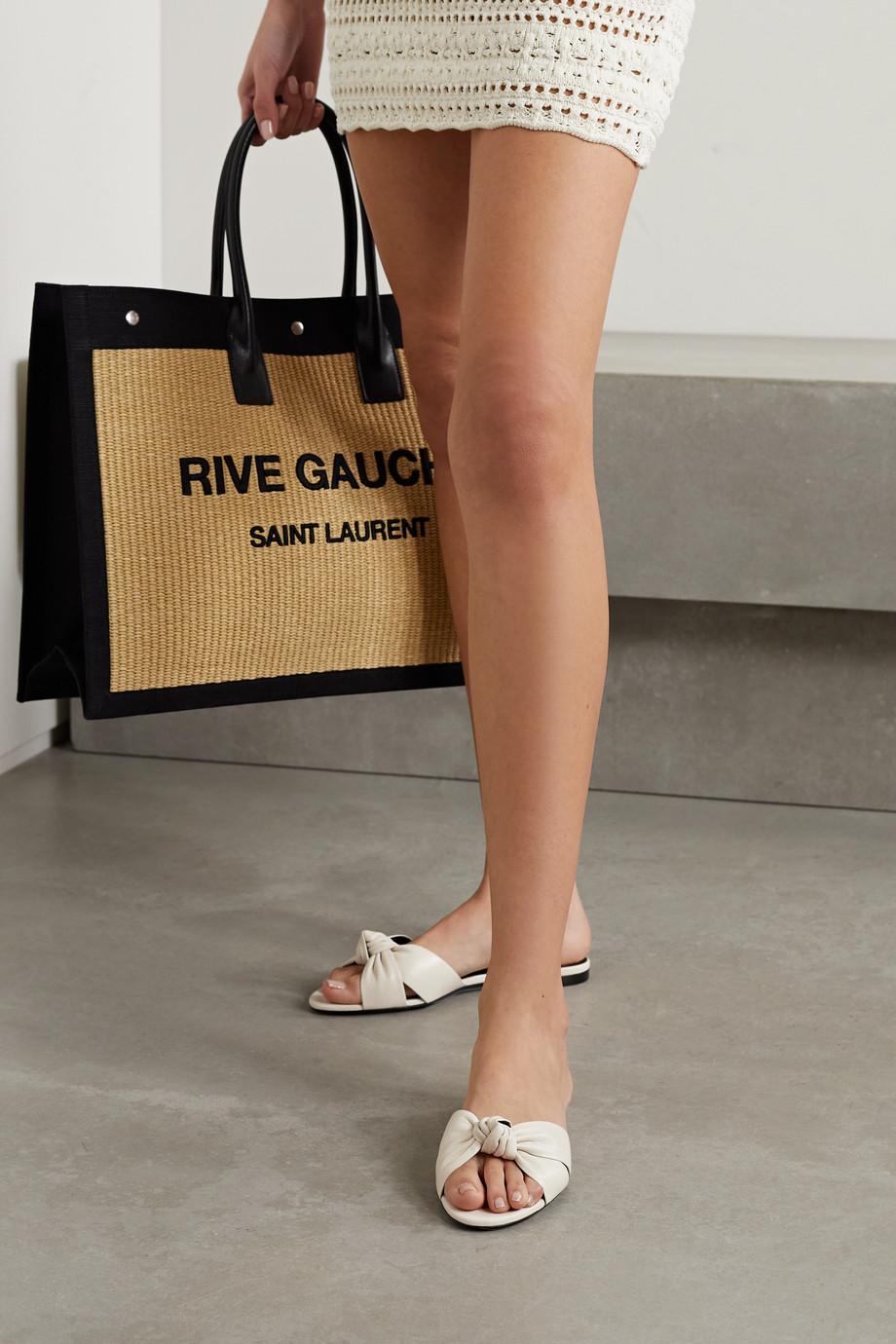 SAINT LAURENT Bianca knotted leather slides