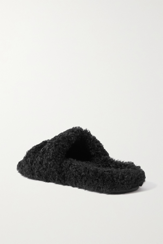 Balenciaga Furry Pantoletten aus Shearling-Imitat mit Logostickerei