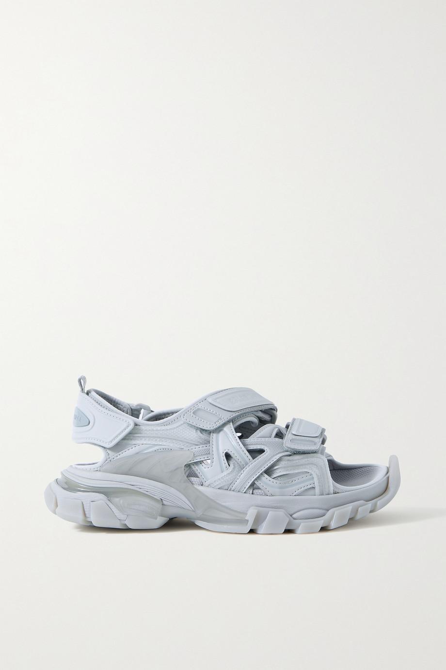 Balenciaga Track Sandalen aus Leder und Gummi mit Logoapplikation