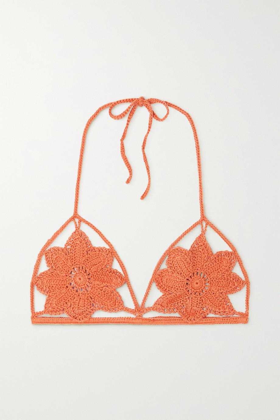 Cult Gaia Dylan crocheted cotton halterneck bikini top